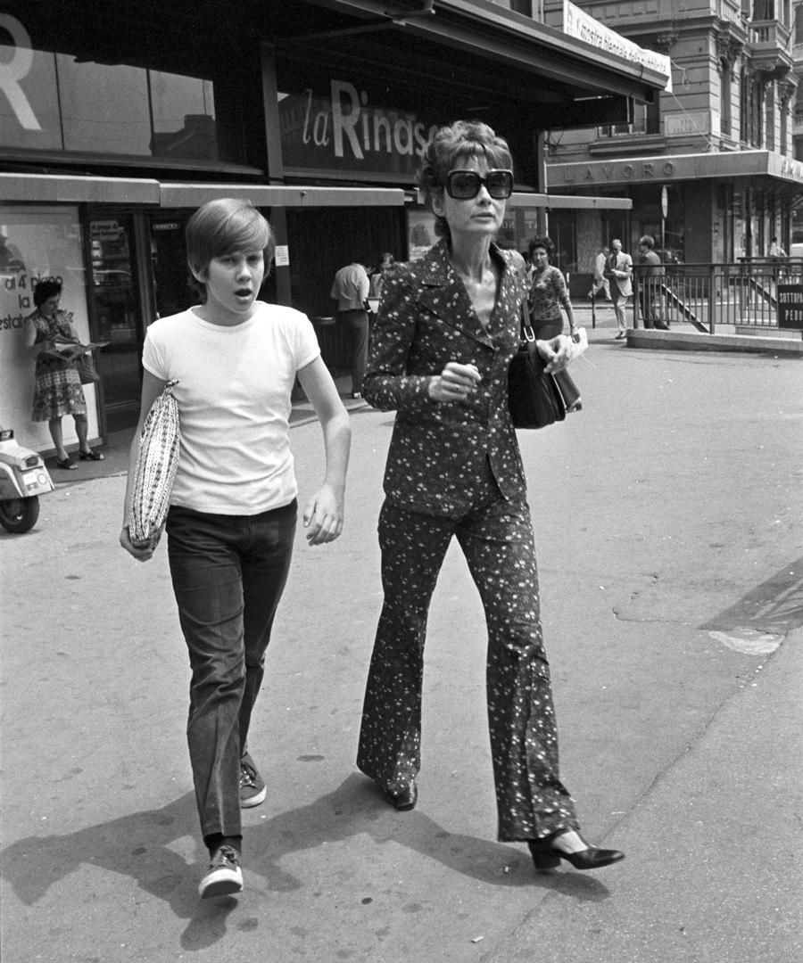 Audrey Hepburn with her son Sean, Rome, 1972