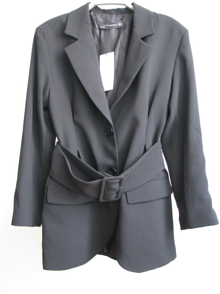 30e78286 NWT ZARA Black Blazer with BELT Jacket Size XS Ref.2025/878 #ZARA #Blazer  #Casual