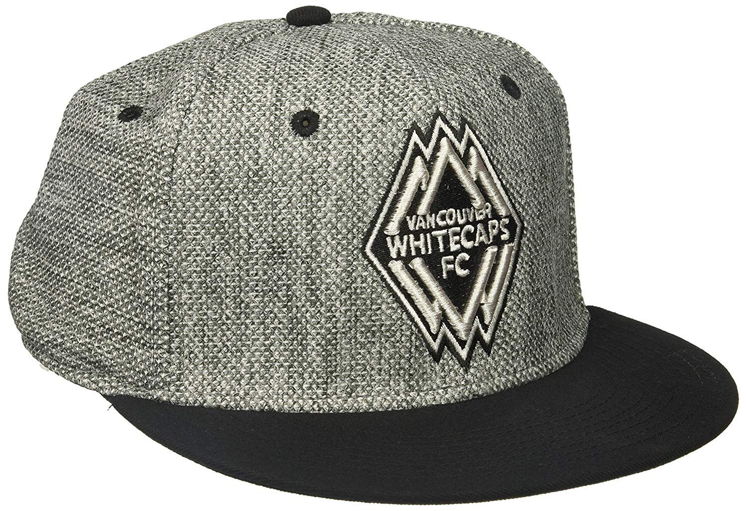 28e46a3c68213 adidas MLS Vancouver Whitecaps Men s Heathered Gray Fabric Flat Visor Flex  Hat