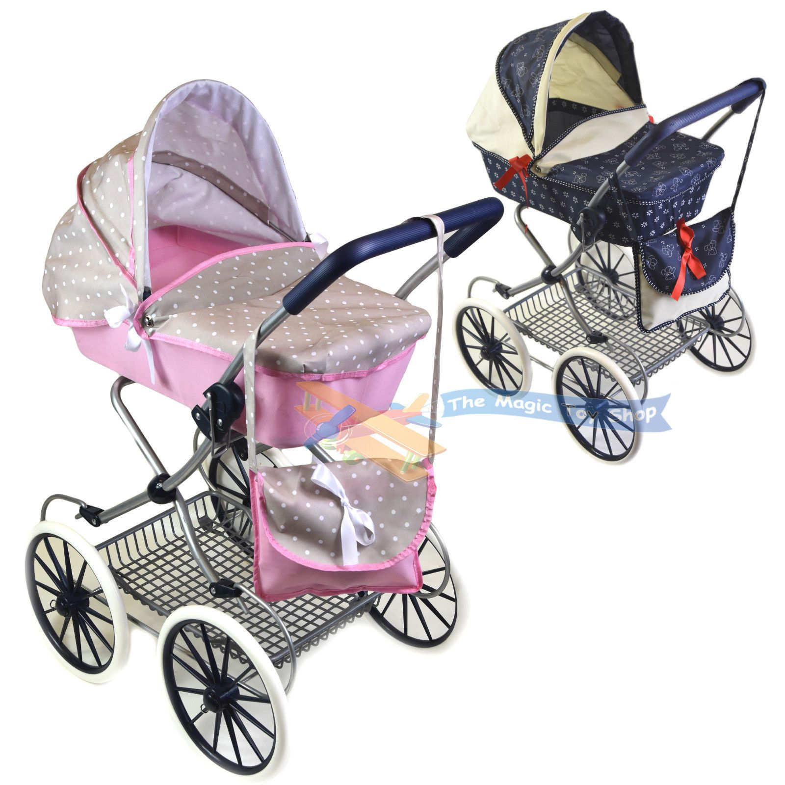 Cambridge style dolls pram stroller with storage basket and carry bag girl bug