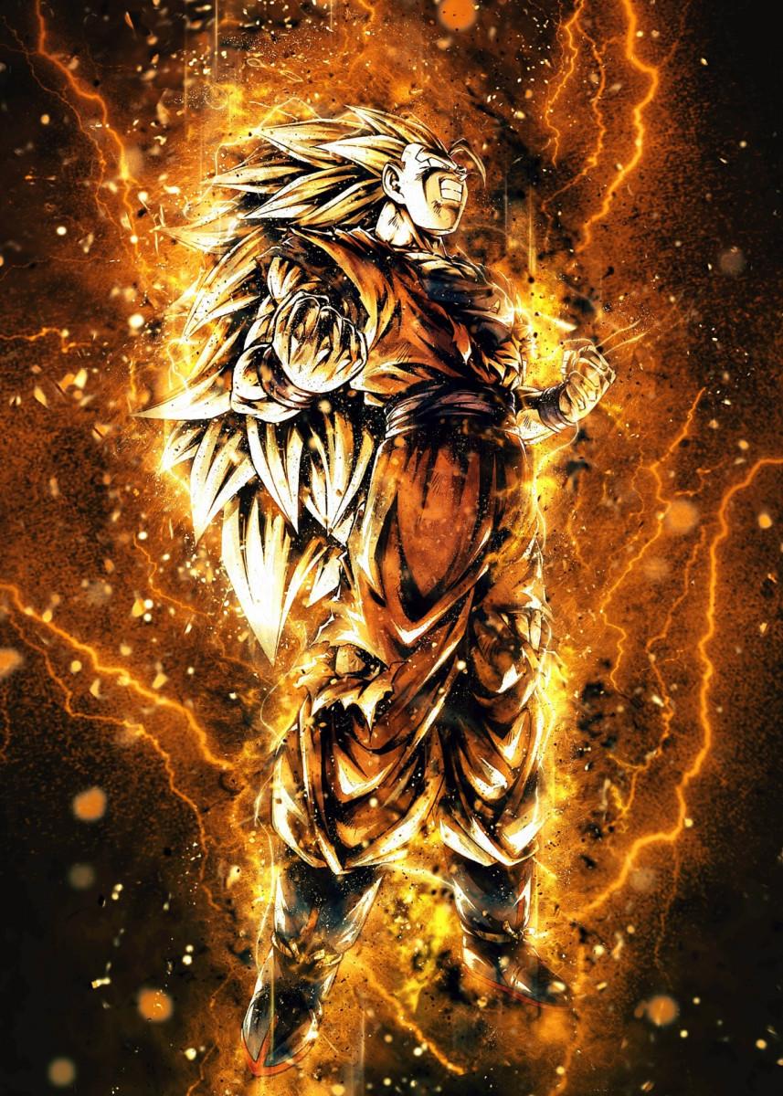 Super Saiyan 3 Aura Anime Manga Poster Print Metal Posters Displate Poster Prints Metal Posters Super Saiyan