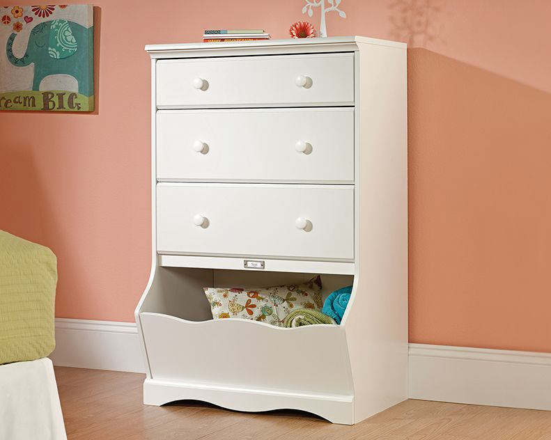 Sauder Pogo 3 Drawer Chest White Dresser Furniture Top