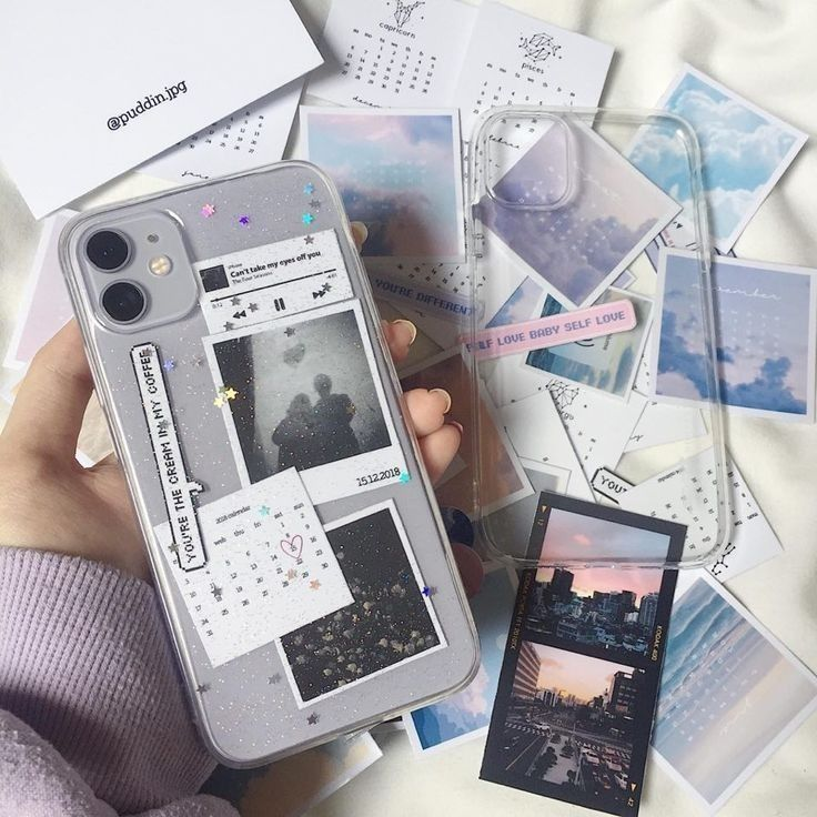 Aesthetic phone | clear phone case | purple | diy