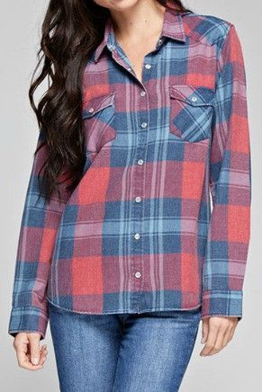 Love Stitch Plaid Snap Front Shirt