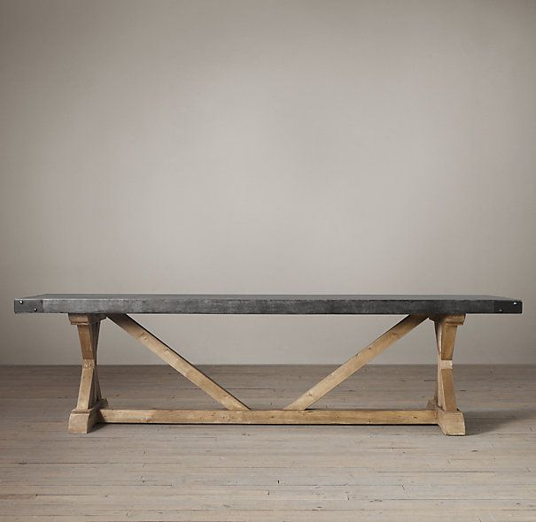 Salvaged Wood U0026 Concrete X Base Tables From Restoration Hardware. Wish Is  Had A Lacquered Black Bottom.