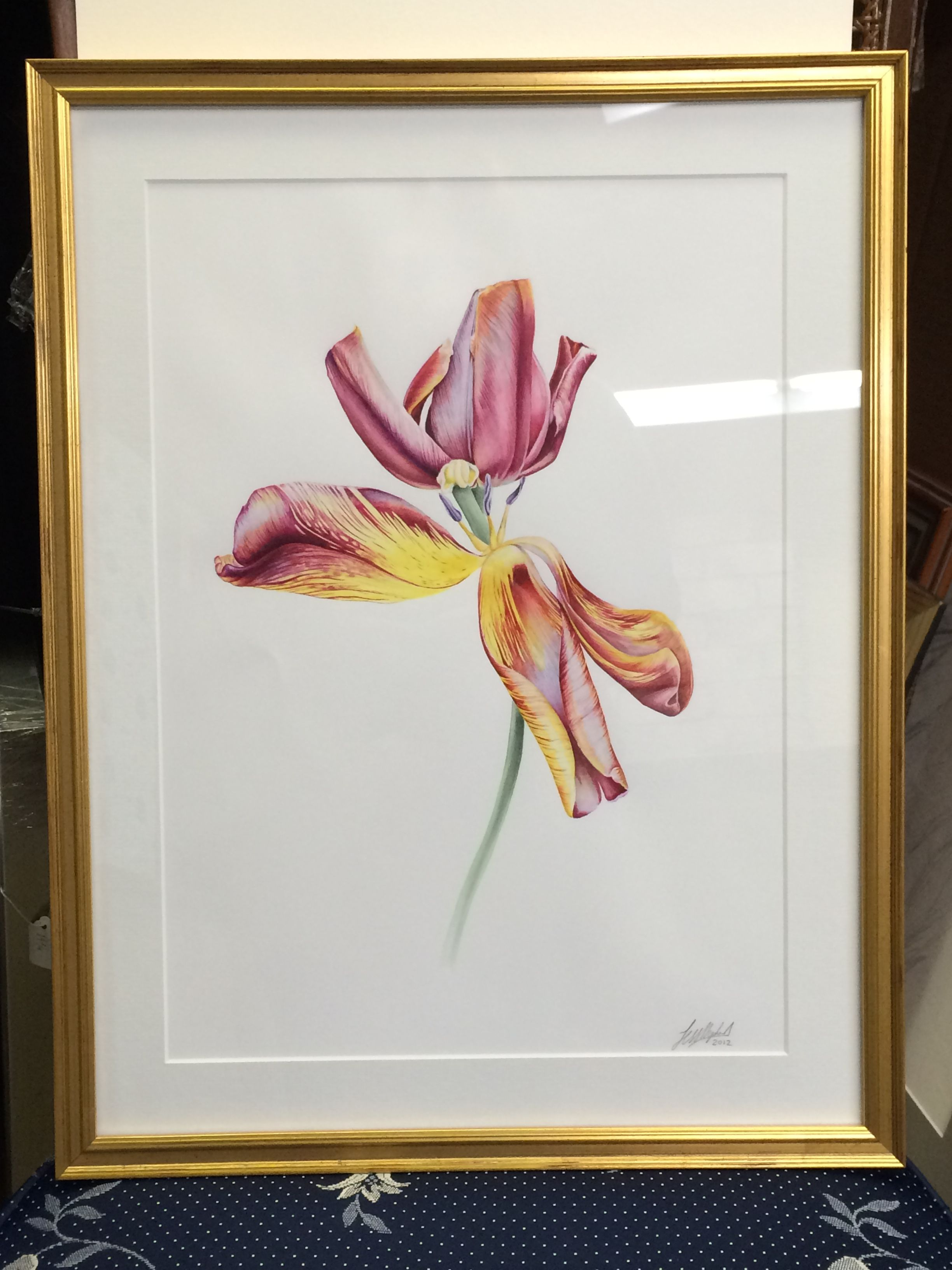 Watercolor Painting Framed In Gold Leaf Wooden Frame By Art En
