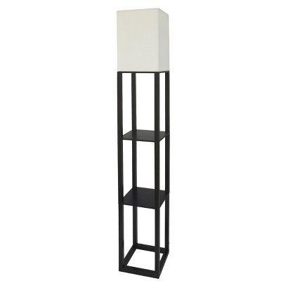 Threshold™ Shelf Floor Lamp With White Shade   Black. Storage + Lighting In  One!