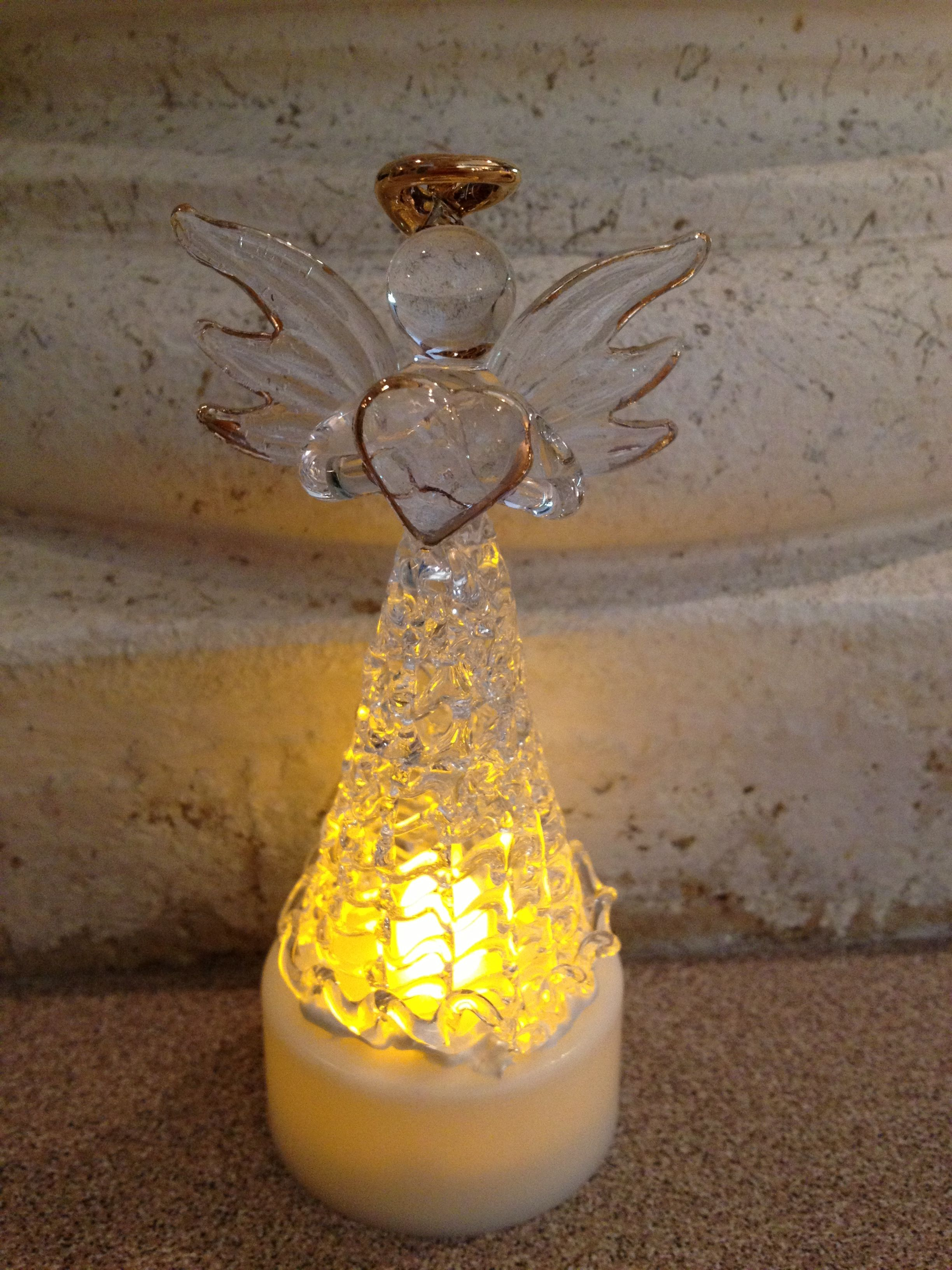 Dollar Store Glass Angel Glued To Tea Light