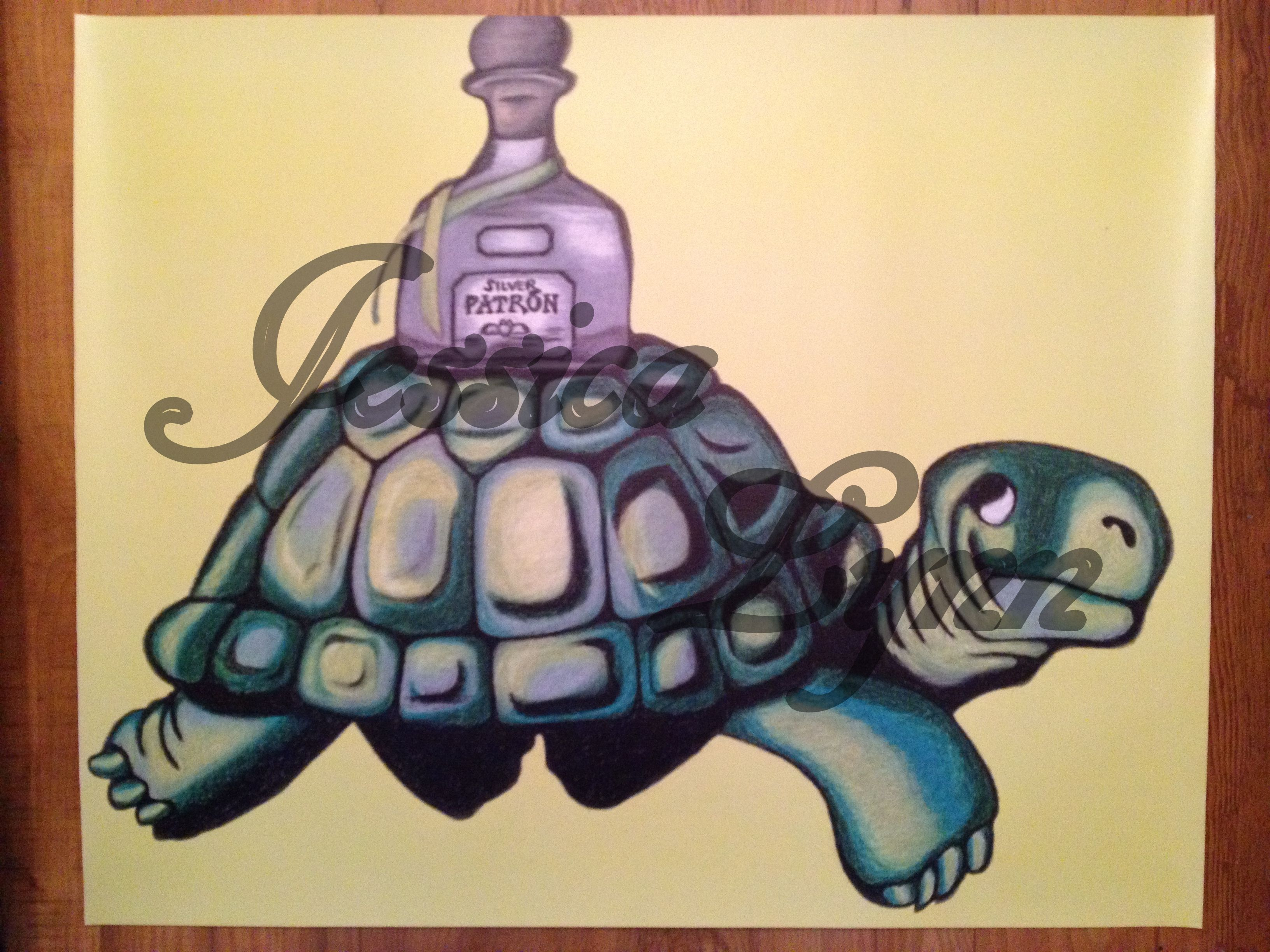 Rendition of Guinness Beer Turtle with Patron Tequila Bottle 24\