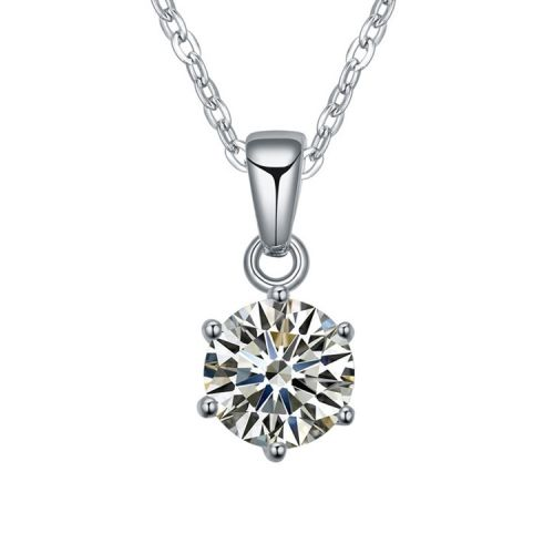 [$2.70] Necklace Hand-Inlaid Zircon - As Good As Gold (Colour: White)