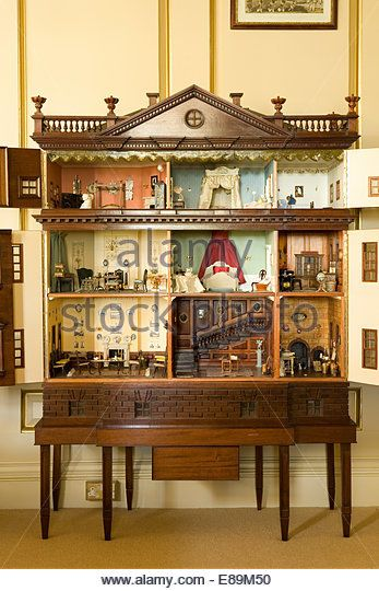 Closeup of the interior of a Victorian dolls house Stock Image