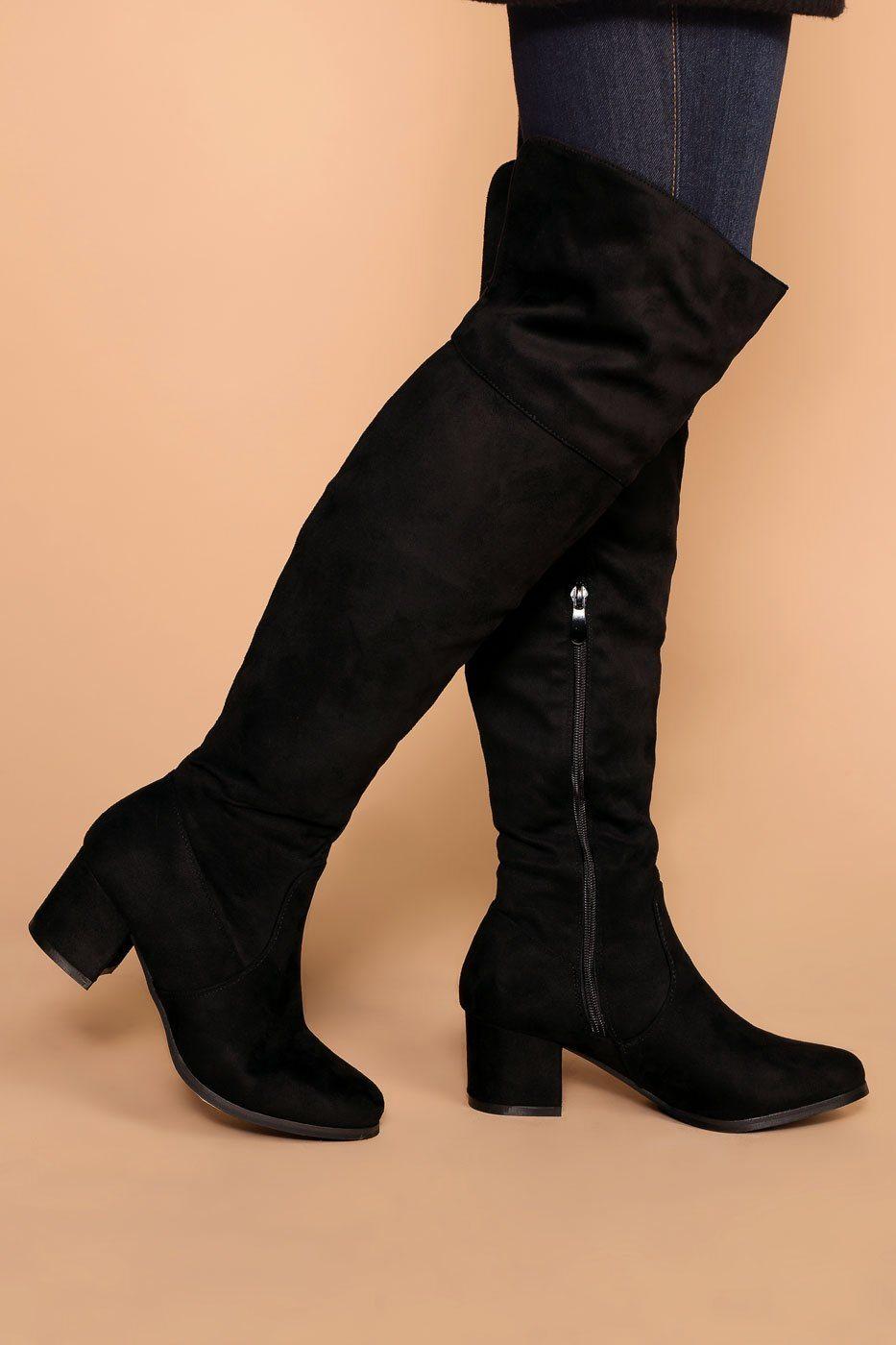 Dublin Black Block Heel Over The Knee Boots Boots Knee Boots Kitten Heel Shoes