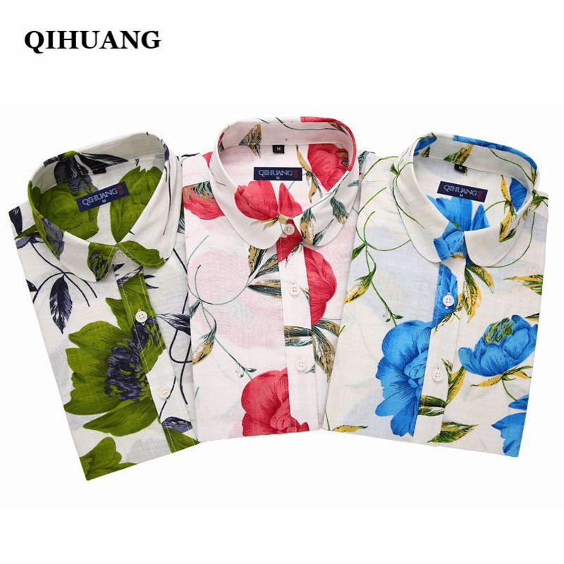 QIHUANG 2017 New Summer Women Shirt Tops Fashion Short Sleeve Beach Shirt Women Blouse Clothes Plus Size S-5XL