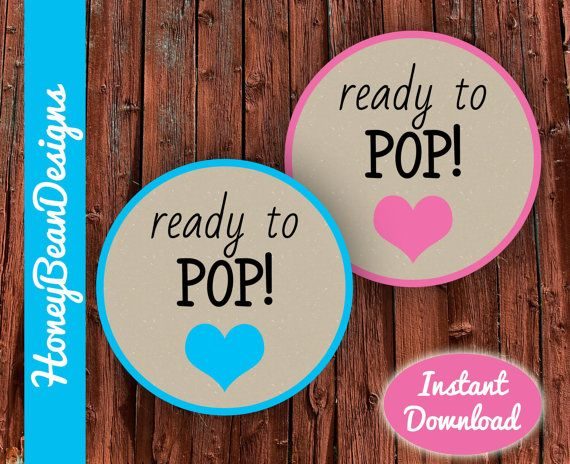 Instant Download PRINTABLE Ready To Pop Tags By HoneyBeanDesigns