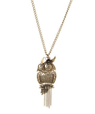 Antique Brass Owl Fringe Pendant Necklace