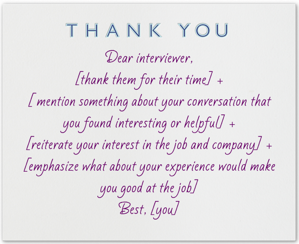 thank you letters after an interview