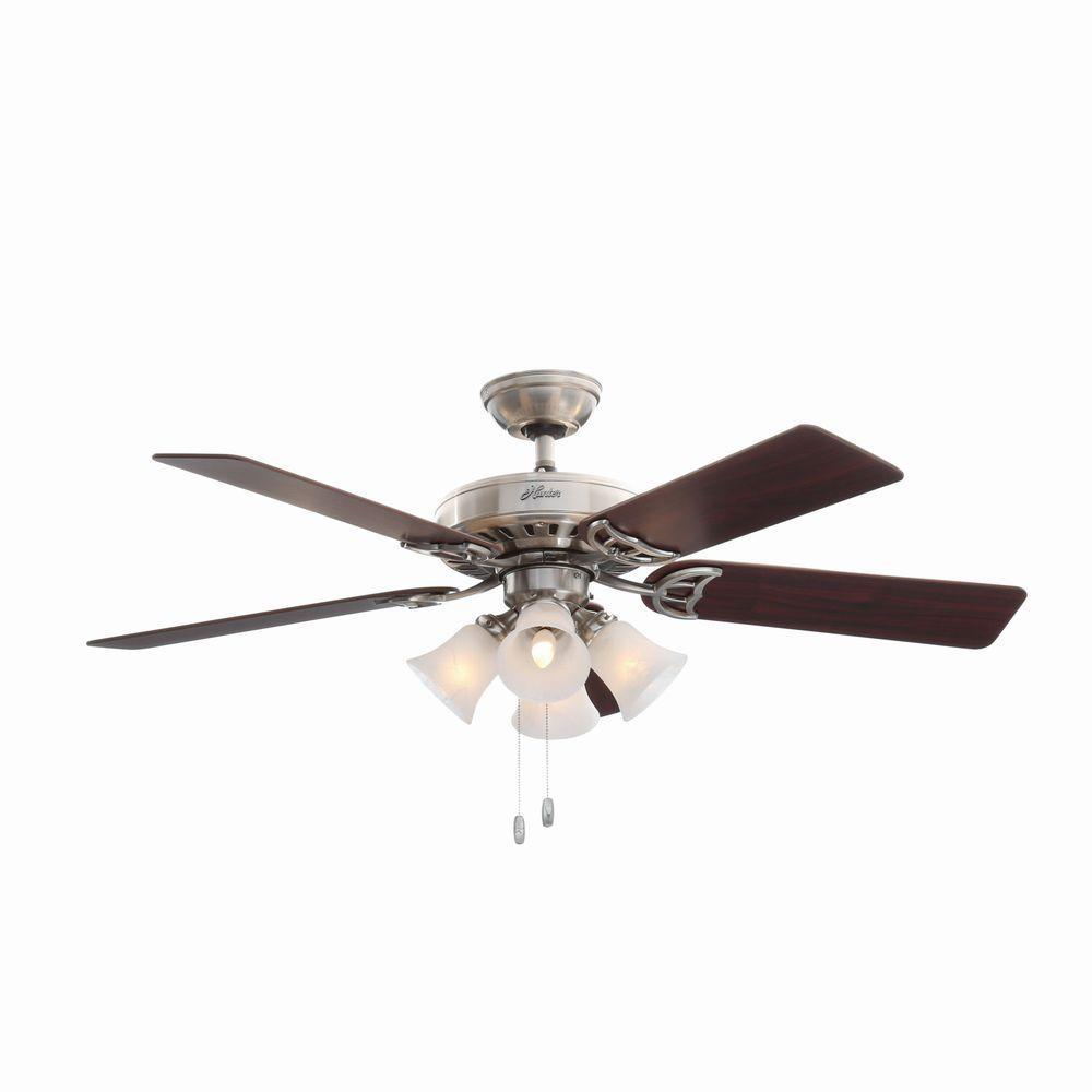 Hunter Studio Series 52 In Indoor Brushed Nickel Ceiling Fan With Light Kit Brushed Nickel Ceiling Fan Ceiling Fan Ceiling Fan With Light