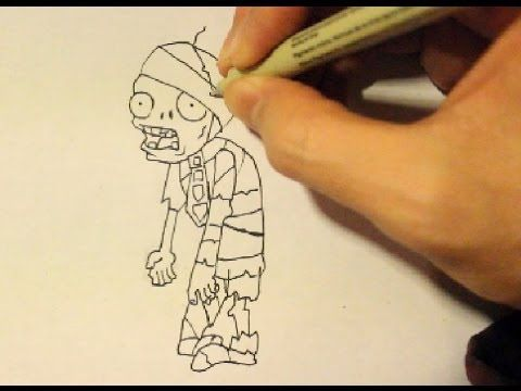 how to draw a zombie from plants vs zombies 2