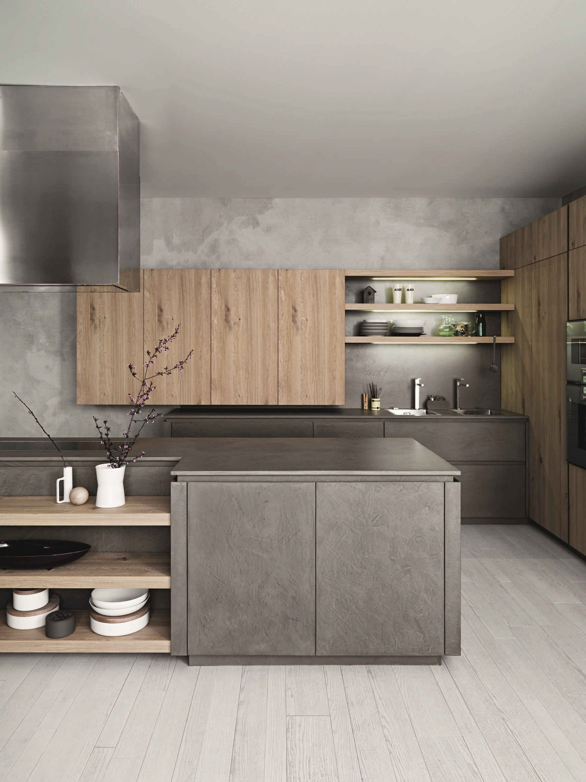 Awesome fitted kitchen with island without handles cloe composition 2 by cesar arredamenti design gian vittorio plazzogna