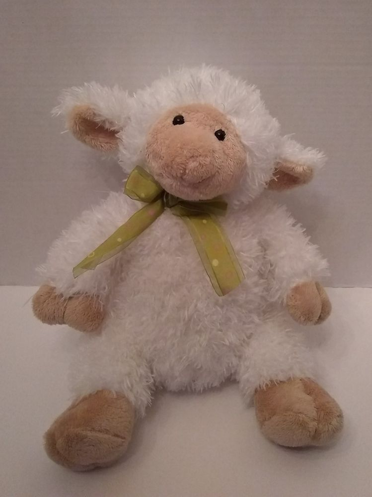 Family Christian Store White Lamb Plush Stuffed 14 Toy Green Pink