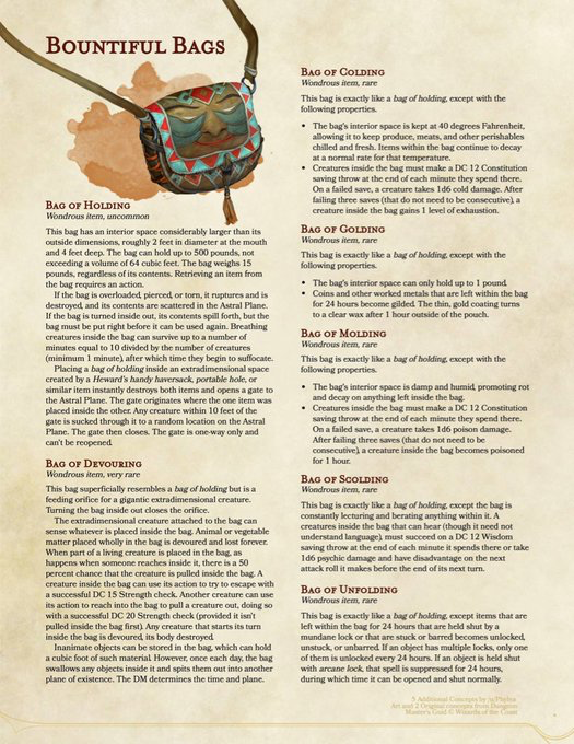 Magic bags | DnD weapons | Dnd 5e homebrew, Dungeons, dragons