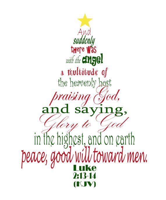christmas tree shaped subway style digital art print featuring luke 2 13 14 kjv - 14 Christmas Tree