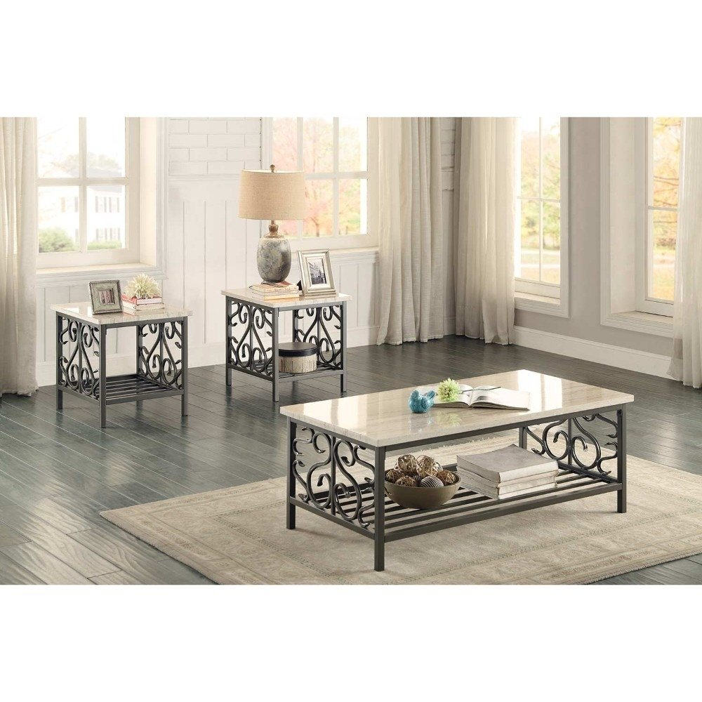 3 Piece Faux Marble Top Table Set With Decorative Metal