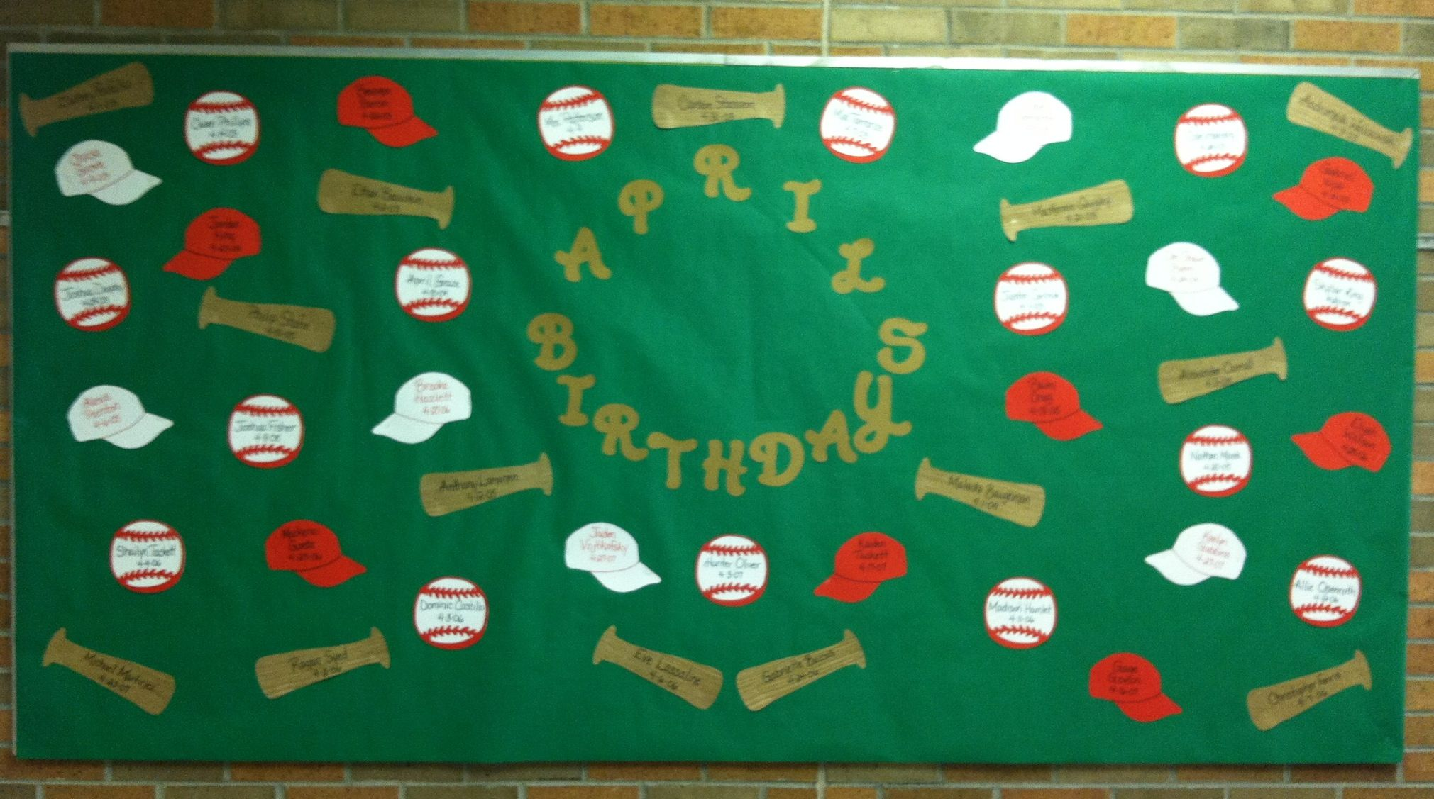 April Birthdays Bulletin Board created in honor of the opening of Baseball Season! Baseballs, Bats, and Baseball Hats