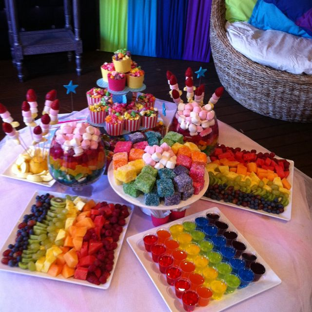 buffet party decorations easier way to do jell othen kids can eat their favorite colour