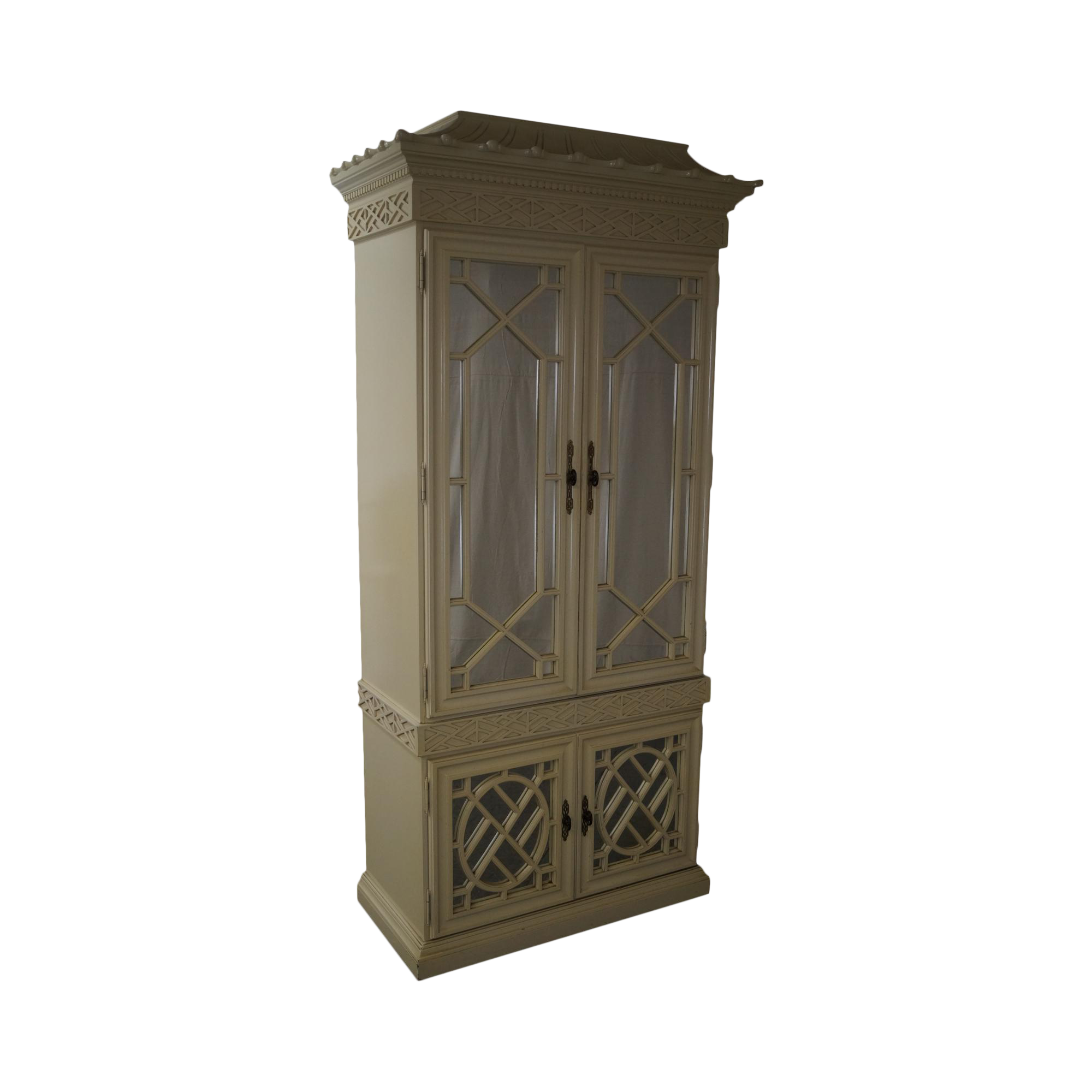 Hollywood Regency Chinese Chippendale Pagoda Top Cabinet on Chairish.com
