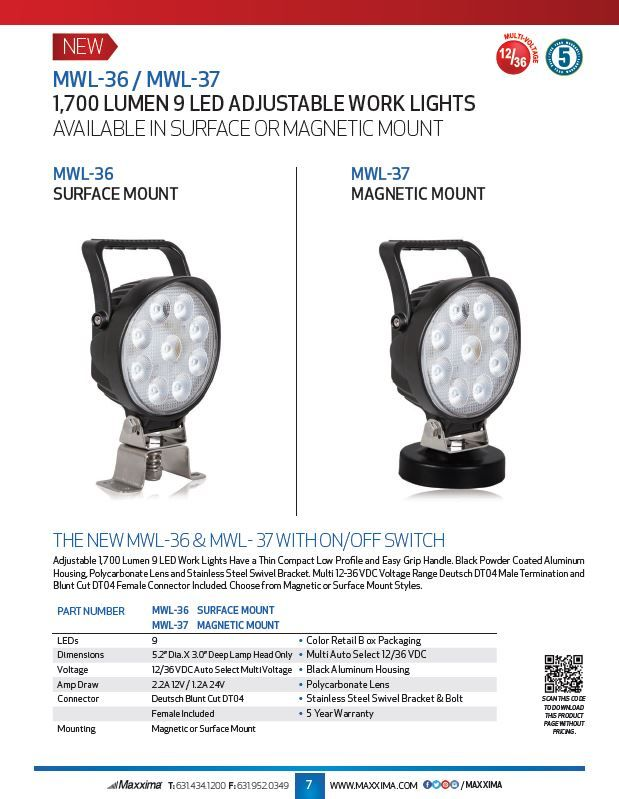 1700 Lumen 9 LED Adjustable Work Lights