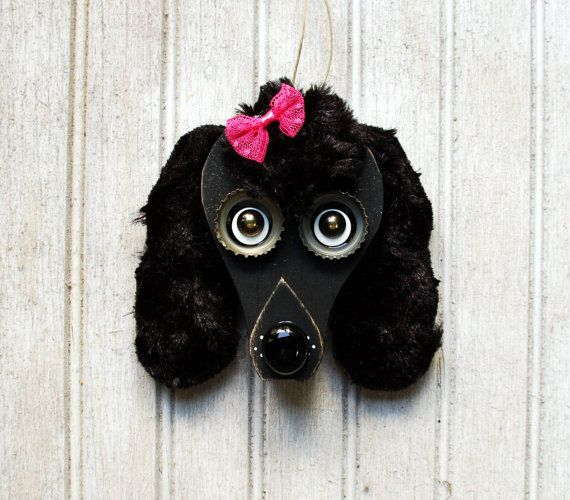 Poodle Dog Ornament, Recycled Hand Made upcycled Black Poodle Art