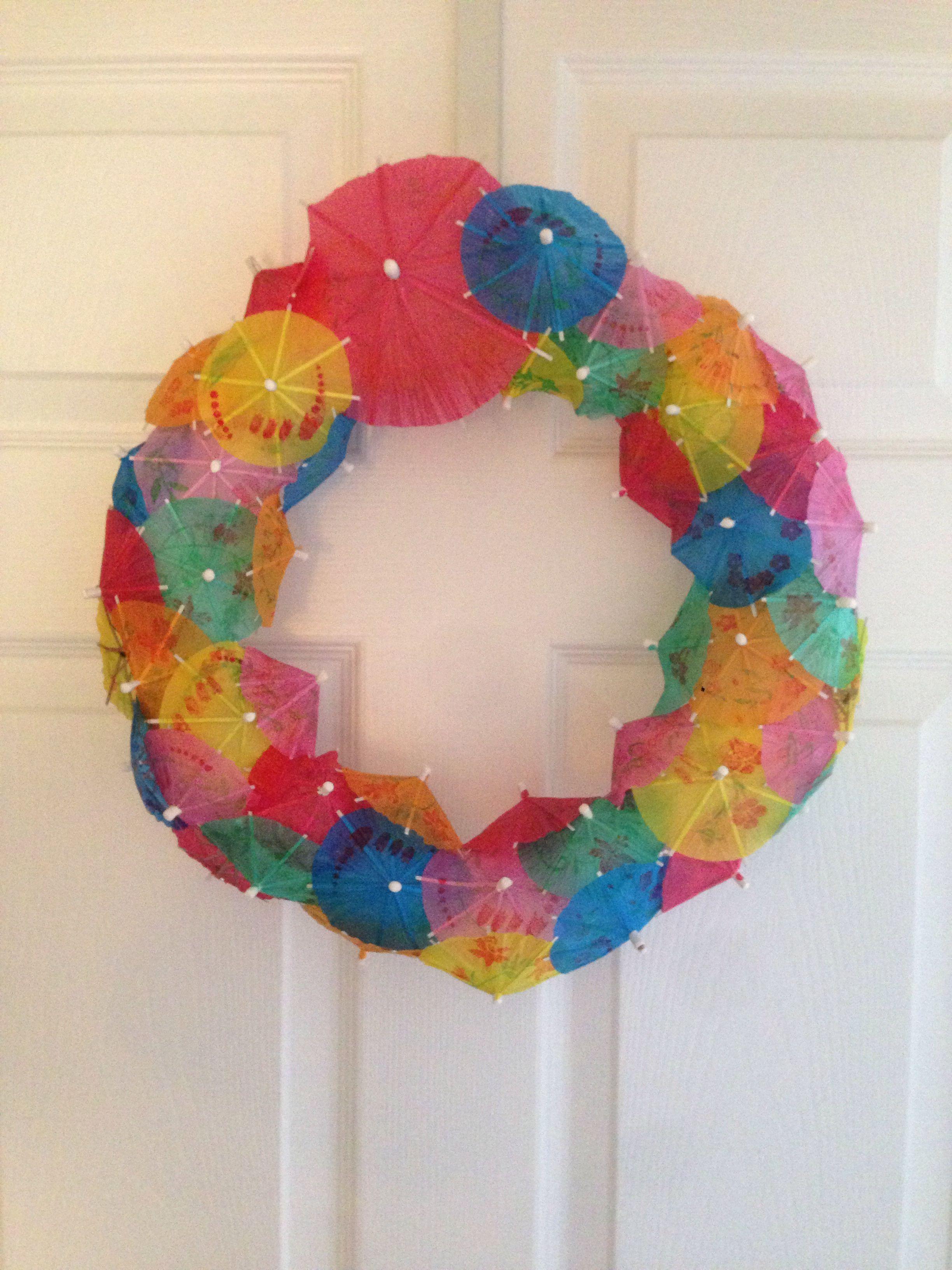 Love the umbrella wreath I made!