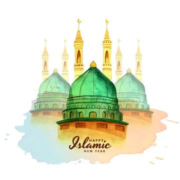 Happy Muharram Mosque Watercolor Background Concept For Islamic, Abstract, Background, Backdrop PNG and Vector with Transparent Background for Free Download