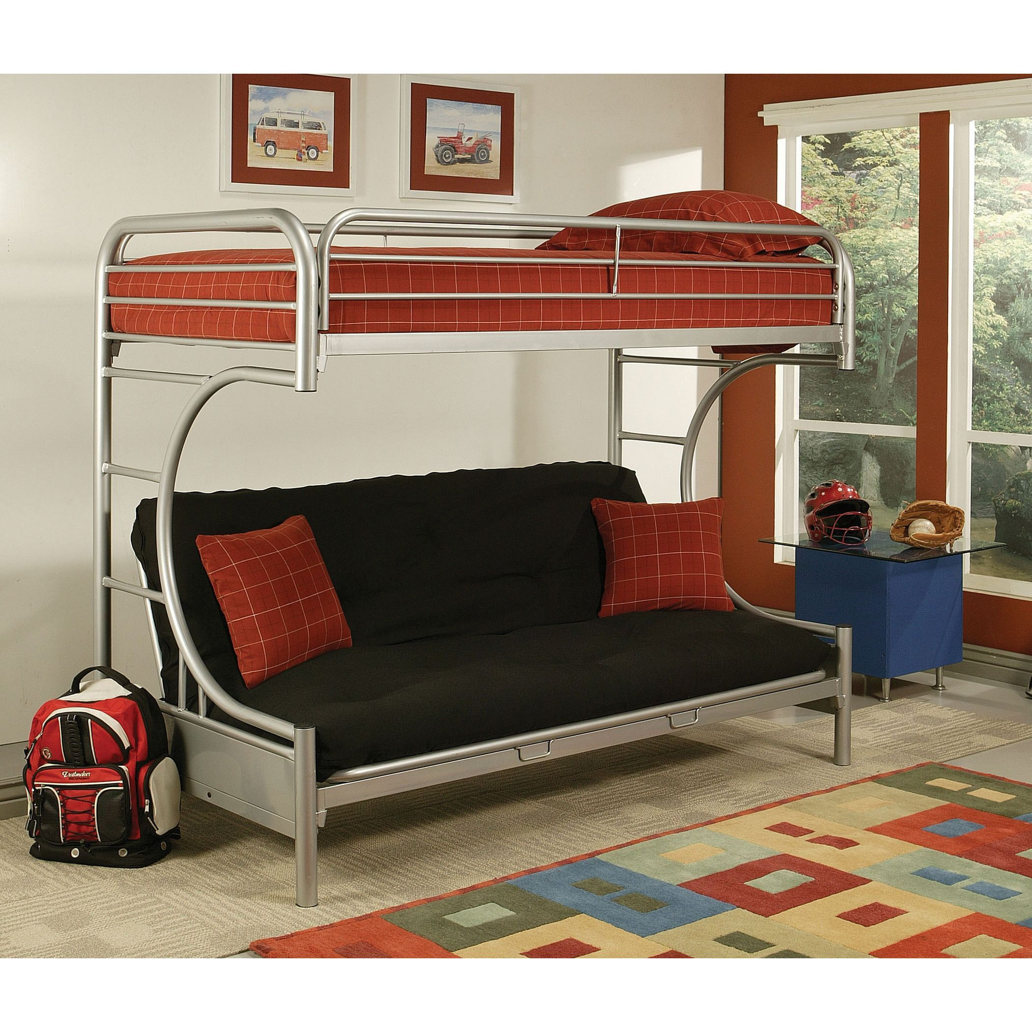"Eclipse Silver Metal Twin XL/Queen/Futon Bunk Bed (Silver, 84L x 62""W x 65""H)"