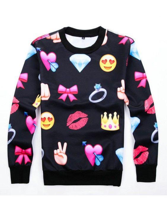 f73a7a266d Emoji Clothing Print Bowknot Black Emoji Joggers Sweats Hoodies Shirt