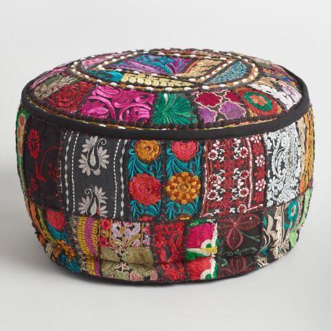 Black Suti Pouf Pouf Affordable Decorative Pillows