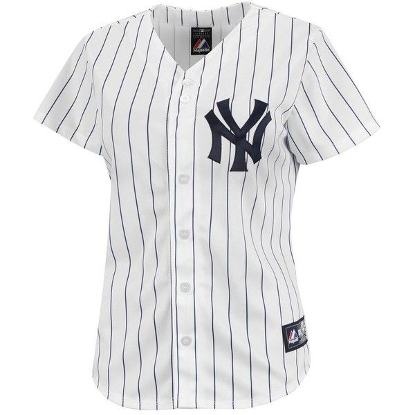 Majestic New York Yankees Jersey 170 Brl Liked On Polyvore Featuring Tops Shirts Jersey T Shirts Navy New York Yankees Apparel Yankees Outfit Mlb Women