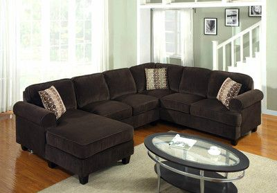 Brown Sofa Loveseat Chaise Corduroy Sectional Couch Living Room