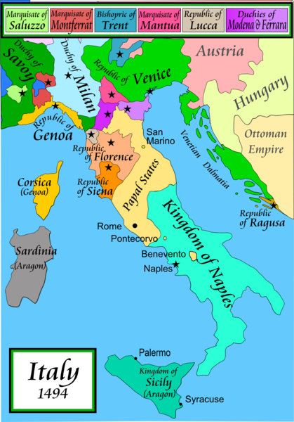 Map of Italian City States. The Renaissance really gets going in