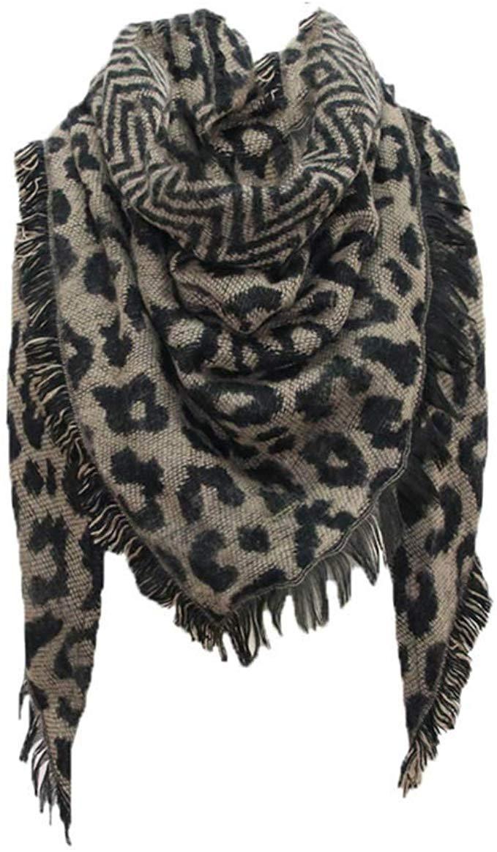 Berrose-Frau Herbst und Winter Kaschmir Schal Weiblich Dreieck Handtuch Leopardenprint Warm halten Damen Schals mit einem armband gro/ß rechteckig Spitz Halstuch