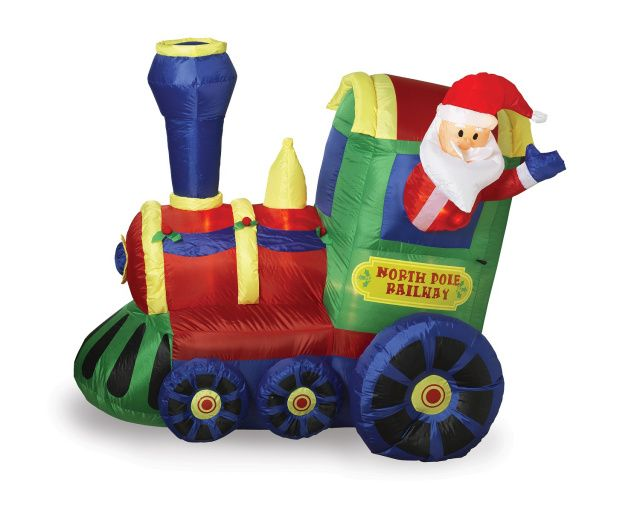 airblown train with santa inflatableall aboard the new north pole railway with santa