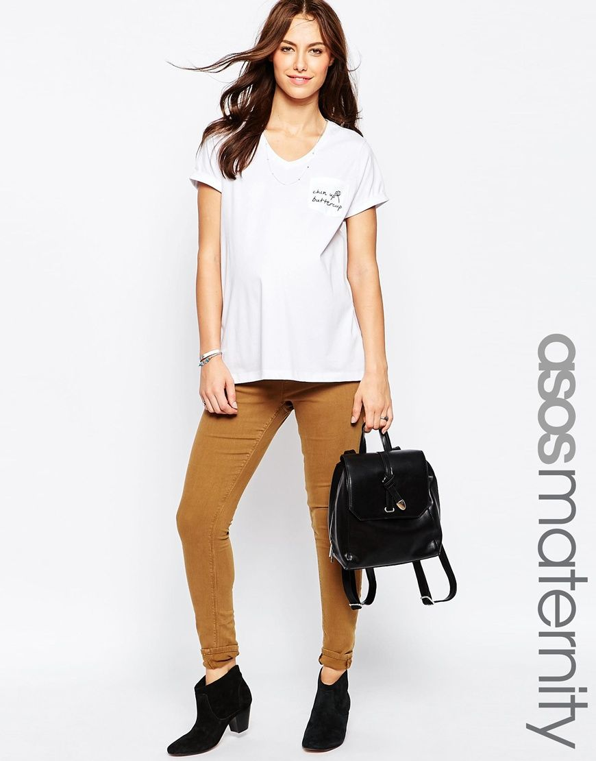 100% d'origine qualité supérieure promotion ASOS+Maternity+Ridley+Skinny+Jean+In+Tobacco | grossesse cool