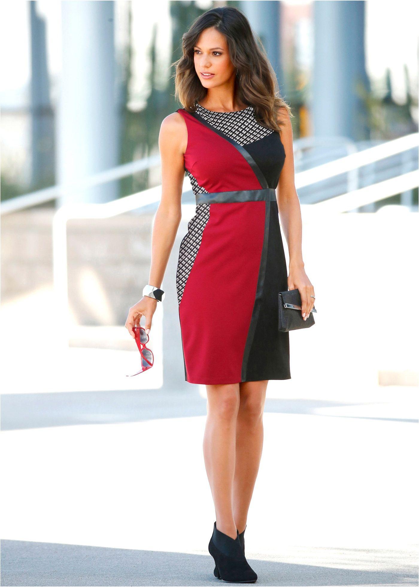 095cd0129ec4 Vestido tubinho patchwork preto/ vermelho escuro/branco comprar on-line -  bonprix.com.br