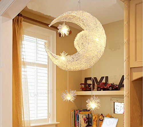 Nilight creative moon and stars pendelleuchte deckenleuchte mond und sterne f r kinderzimmer - Amazon kinderzimmer ...