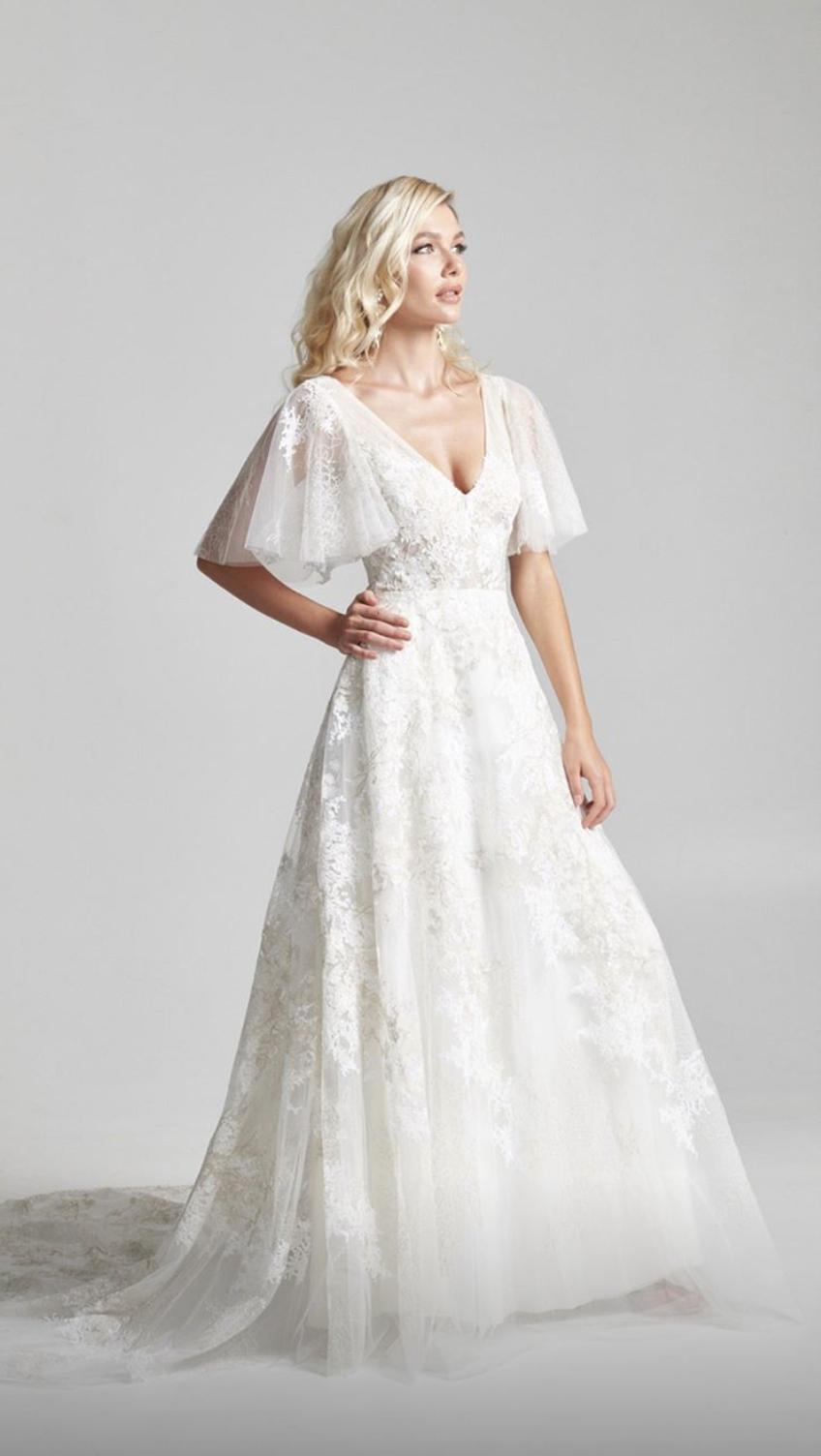 Flutter Sleeve A Line Wedding Dress Asymmetrical Wedding Dress Wedding Dresses A Line Wedding Dress [ 1504 x 848 Pixel ]