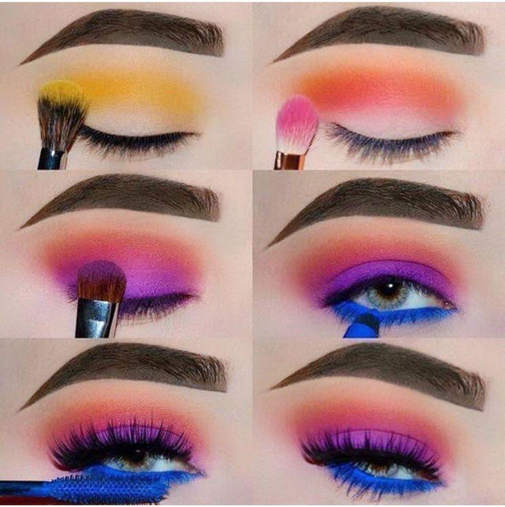 Bunte Lidschatten Make-up # Tutorial, super einfach mit diesem Schritt von Schri #makeupeyeshadow