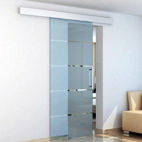 Homcom kit para puertas corredizas madera riel acero - Puerta corredera cristal barata ...