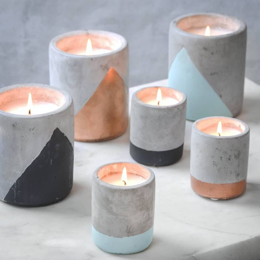 Concrete And Colour Candle Pots #candles