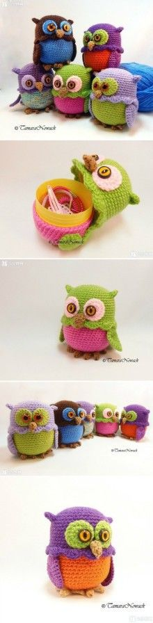 Owl mini storage box - PDF crochet pattern in GERMAN and ENGLISH #eastercrochetpatterns
